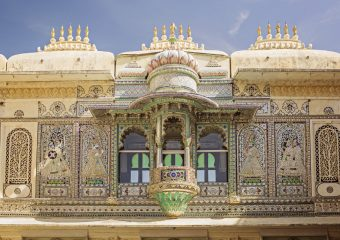 Balcony at City Palace in Udaipur in Rajasthan in India