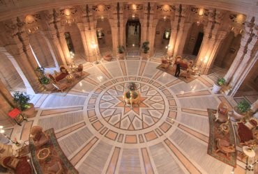 Central Hall of Umaid Bhawan Palace in Jodhpur in Rajasthan in India