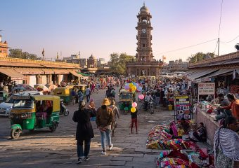 Famoous Sardar Market and Clock Tower in Jodhpur in Rajasthan in India