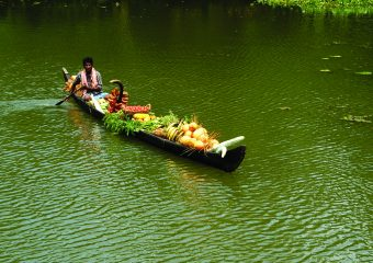 Farmer on country boat in Backwaters in Kerala in South India