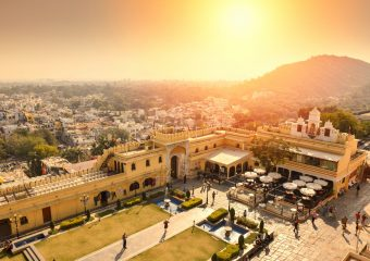 Sun set at Manek Chowk in City Palace in Udaipur in Rajasthan in India