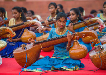 Veena - Traditional Indian musical instrument made of pine wood and strings - Thanjore - Thanjavur - Tamilnadu - South - India