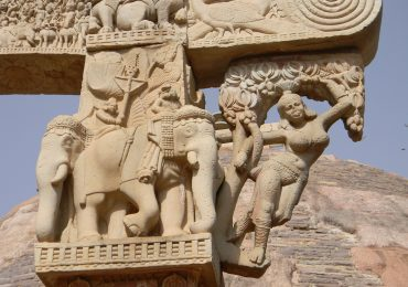 Intricate Carving on stone on pillar at Sanchi stupa - Buddhist city in central India - Madhya Pradesh - India