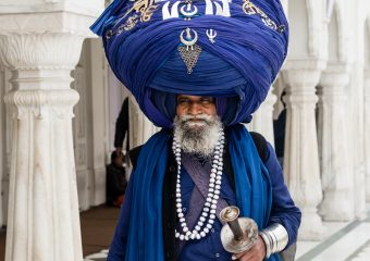 Sikh devotee with 100 kgs turban with holy marks of Sikhism - Amritsar - North - India